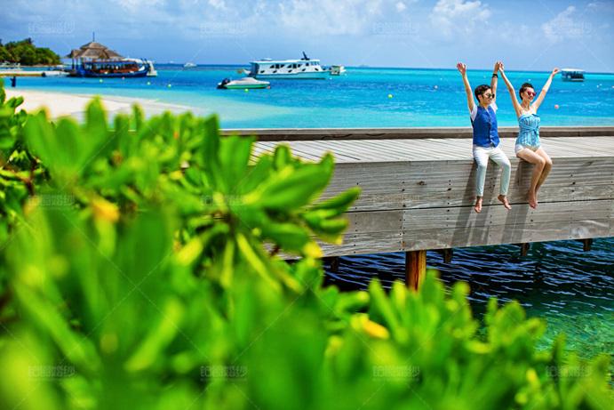 马尔代夫06月客照之桥上庆祝