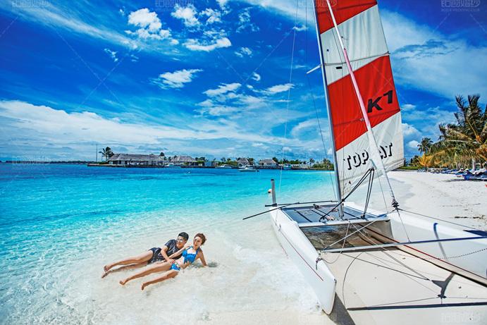 马尔代夫08月客照之沙滩打闹