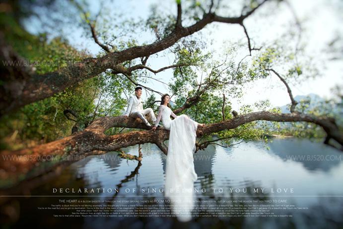 拍婚纱照怎么对比