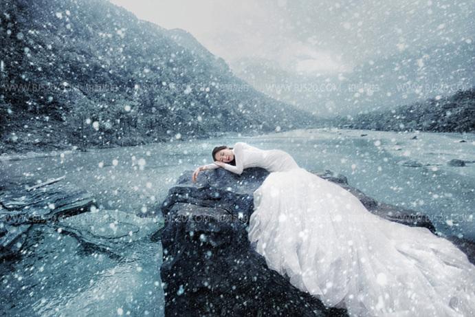 如何挑选头纱去拍海景婚纱照