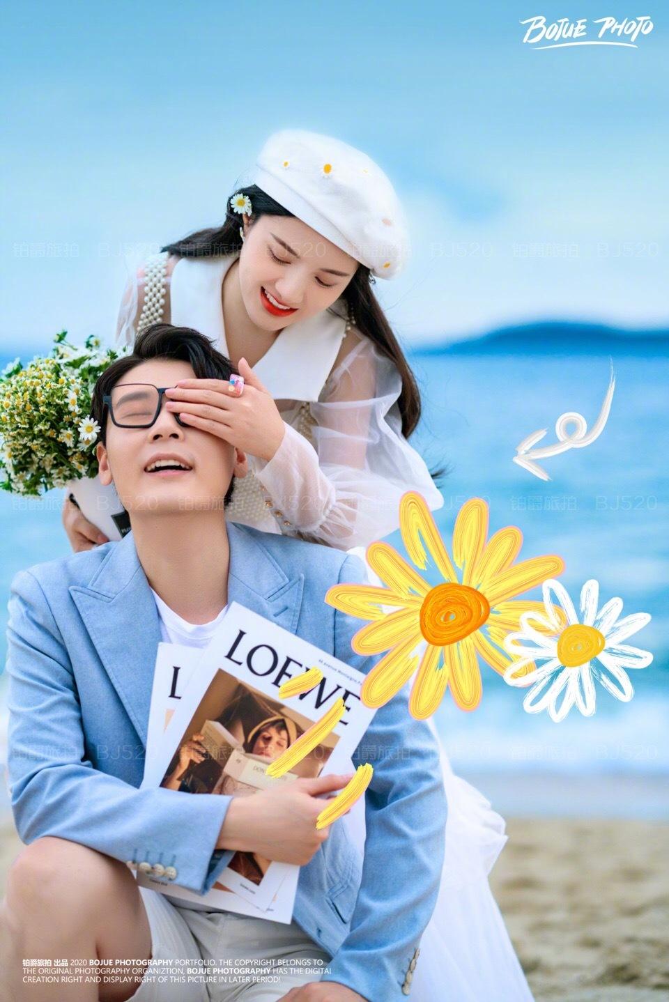 铂爵旅拍婚纱照 在深圳的大海边定格爱的纪念